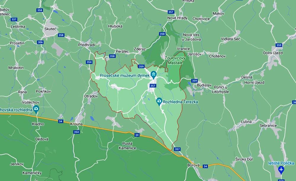 mapa českej republiky výsek, na ktorom je Proseč